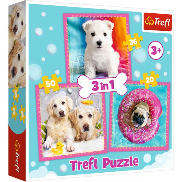Puzzle - 3 in 1 - Dogs  in  the bath
